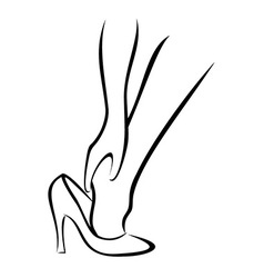 The Woman puts shoes 1 vector image