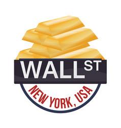 Wall street new york golden bar wealth vector