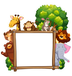 wooden frame with many animals in background vector image vector image