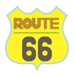 Yellow route 66 shield icon cartoon style vector image