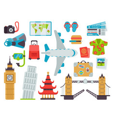 airport travel icons flat vector image