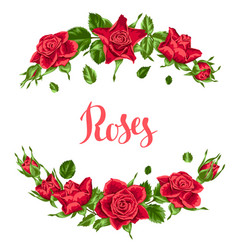 Decorative elements with red roses beautiful vector