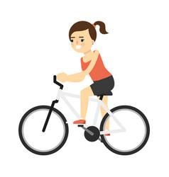 Sporty smiling girl in sportswear riding on bike vector