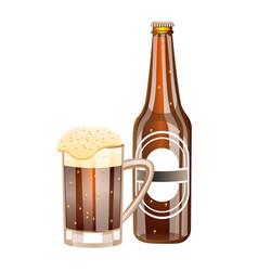 glass and bottle of dark beer vector image