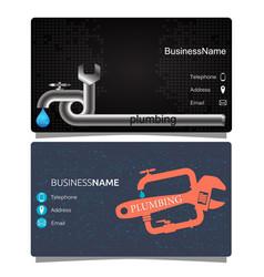 Plumbing business card vector