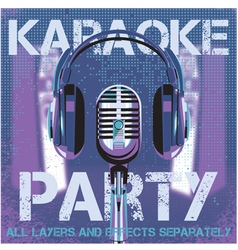 bmicrophone and headphones for karaoke party vector image