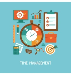 Concept in flat style - time management vector