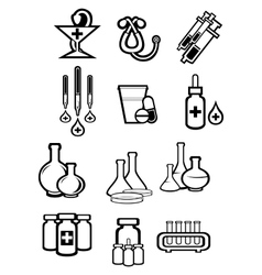 Black outline sketch icons of medicine or drugs vector