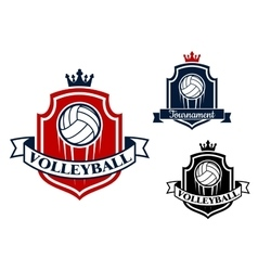 Volleyball game sports banner or emblem vector