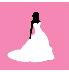 Female silhouette in a white dress vector