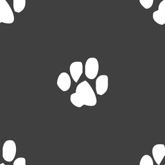 Trace dogs icon sign seamless pattern on a gray vector