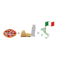Pizza and italian characters attractions map and vector
