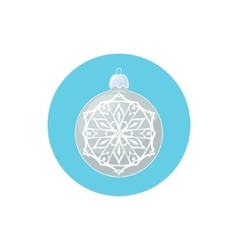 Colorful icon silver ball with snowflake vector