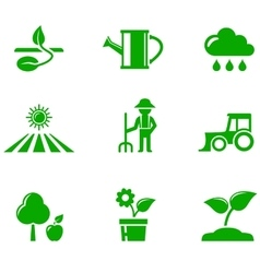 Green agriculture icons set vector