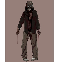 Cartoon terrible bloody zombie vector