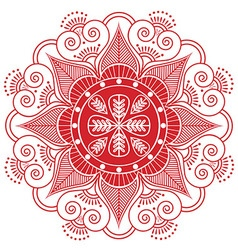 Indian pattern surounded with heart elementin red vector