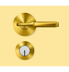 Gold door handle and door lock vector