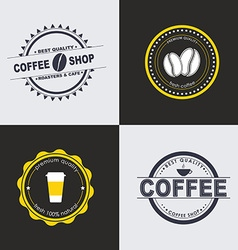 Design coffee logo on colored backgrounds vector