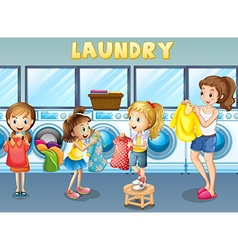 Children doing laundry together vector
