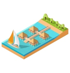 Bungalow isometric vector
