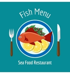 Fish delicious dish healthy eating vector