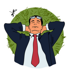 Businessman is relaxing lying on grass vector