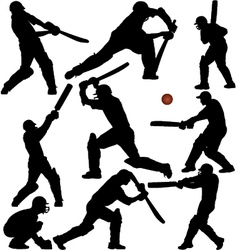 Cricket sports silhouettes vector