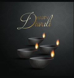 Decorative diya lamp background for diwali vector