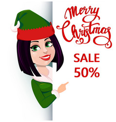 elf woman standing behind a sign and showing on vector image vector image