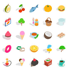 fish day icons set isometric style vector image