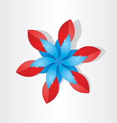 flower decoration icon red blue vector image vector image