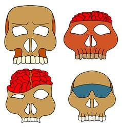 Hand drawn skull mask set vector