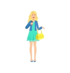 Happy pretty blond girl in blue dress sipping vector