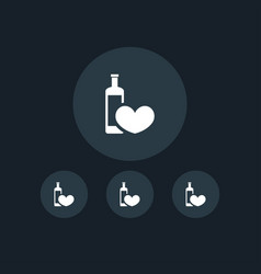 Heart with wine icon simple vector