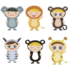 Kids dressed as animal cute costume vector