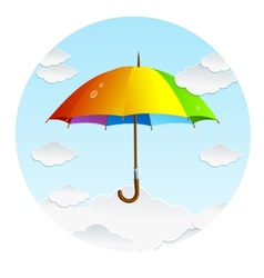 rainbow umbrella and clouds vector image
