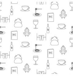 Restaurant line icon seamless pattern vector