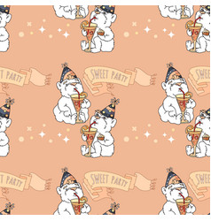 Seamless pattern with cute bears on pink vector