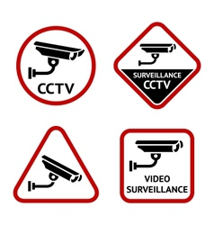 Security camera set sticky labels vector image