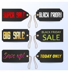 Set Black Friday tagline sales tags vector image