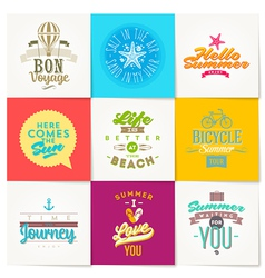 Set of summer vacation and travel type design vector