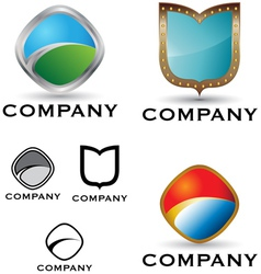 shield logo and icon set vector image vector image
