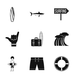 Swimming on surfboard icons set simple style vector