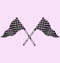 Two checker flags crossed vector