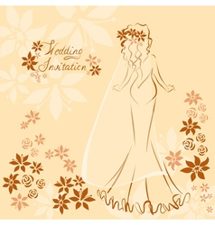 Wedding invitation card with elegant beautiful vector image vector image