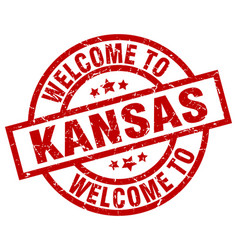 Welcome to kansas red stamp vector