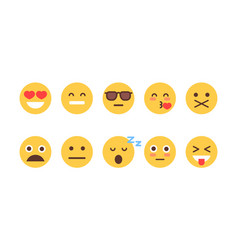 yellow cartoon face set emoji people different vector image vector image