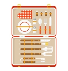 bbq suitcase with barbecue tools vector image