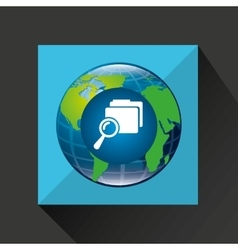 earth global search folder connected media vector image