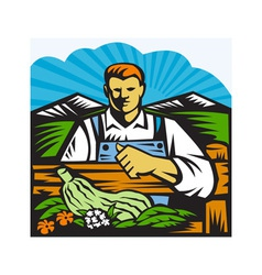 Organic Farmer Farm Produce Harvest Retro vector image